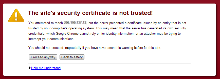 SSL certificate is not trusted
