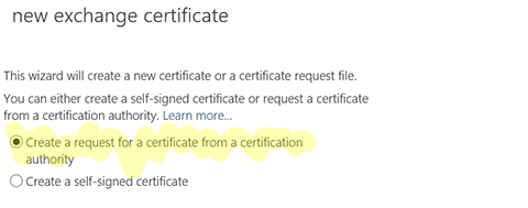 request for a certificate