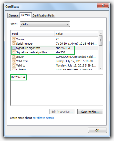 Migrate an SSL certificate from SHA-1 to SHA-2 (SHA-256 Algorithm)