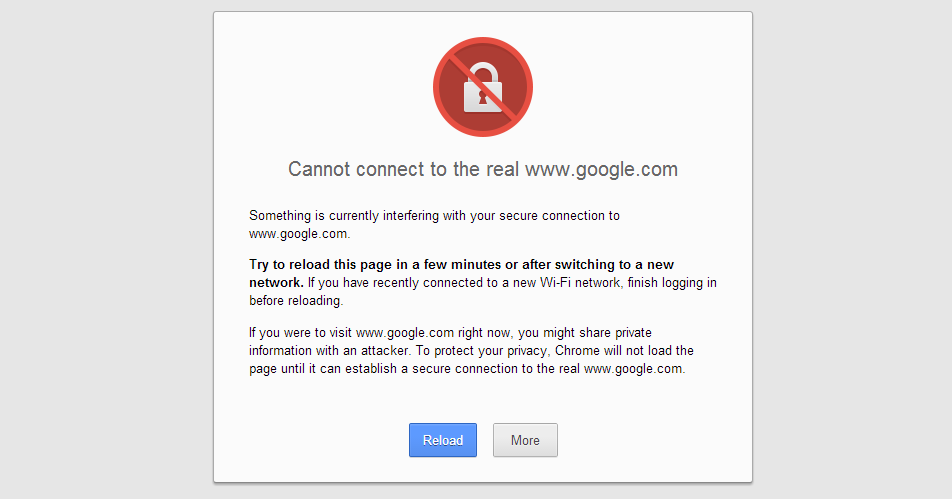 cannot connect to the real google.com