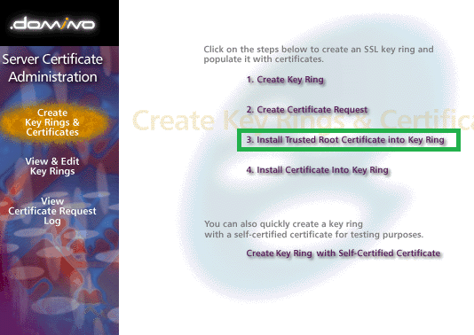 install trusted root certificate key ring lotus domino
