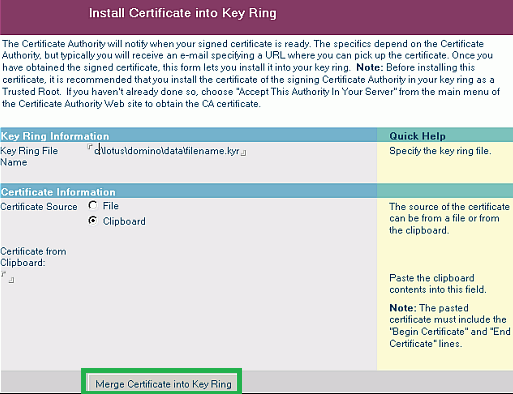 merge certificate into key ring