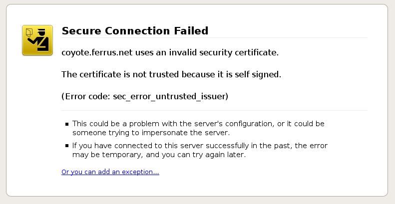 self signed ssl error