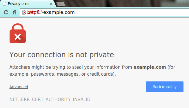 chrome your connection is not private