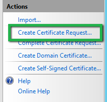 Create certificate request IIS 8