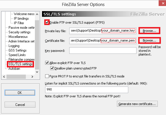 filezilla ssl tls settings