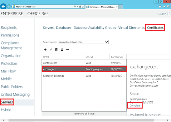 Install SSL Certificate on MS Exchange Server 2013 / 2016