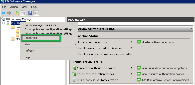 Remote Desktop Gateway Properties