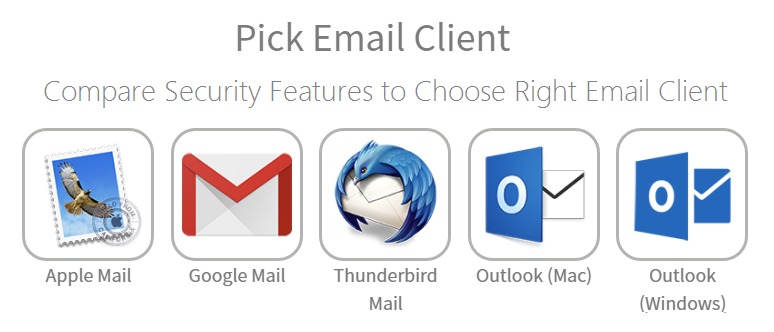compare email client security features