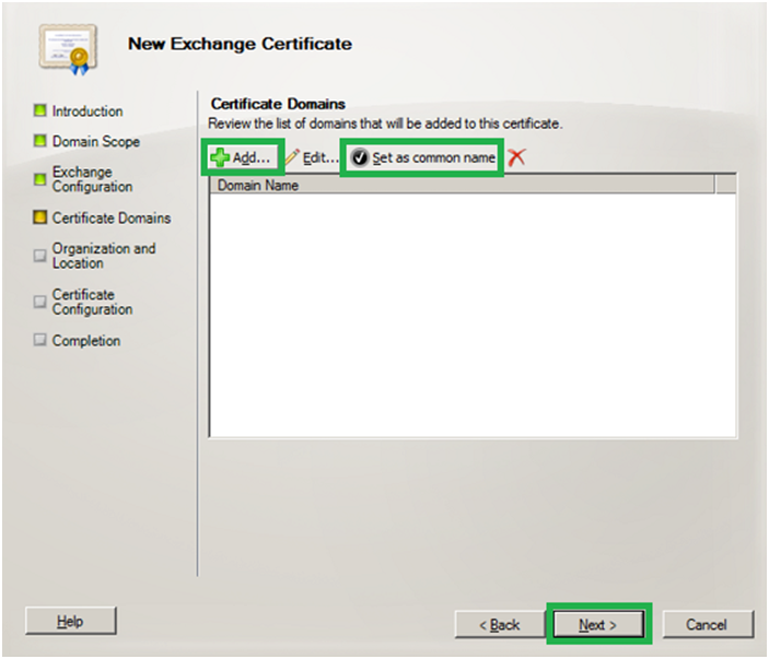 add certificate domains - exchange server 2010