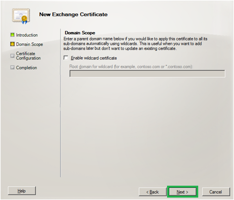 enable wildcard certificate - exchange server 2010