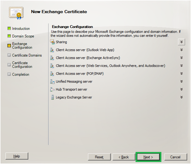 exchange configuration - exchange server 2010