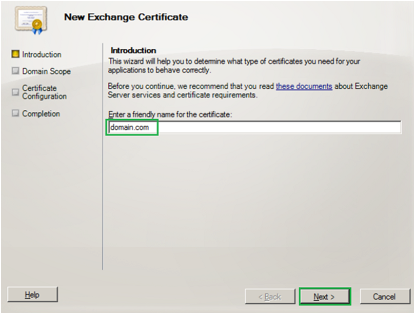 friendly name for the certificate - exchange server 2010