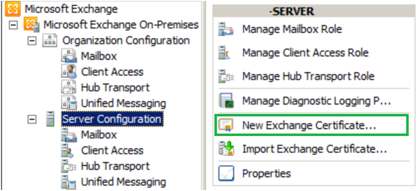 new exchange certificate - exchange server 2010