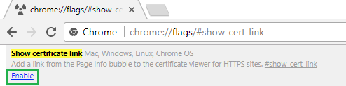 enable show cert link