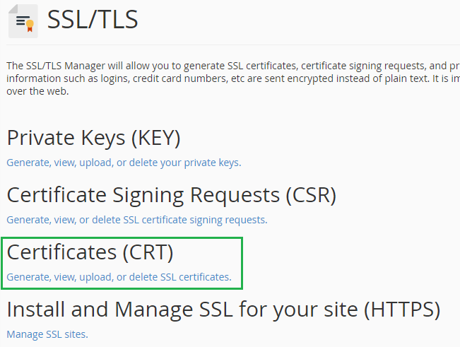 Certificates CRT option in cPanel