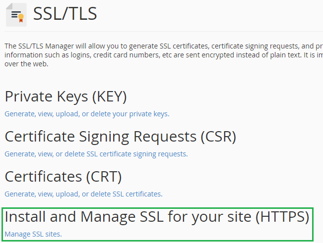 Manage SSL Sites in cPanel
