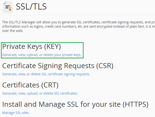 Private Key setting in cPanel