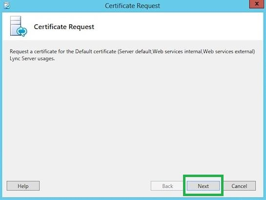 Certificate Request screen
