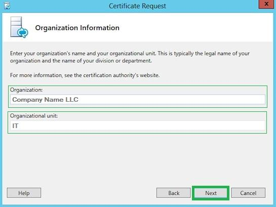 lync 2013 ssl csr - organization name and unit