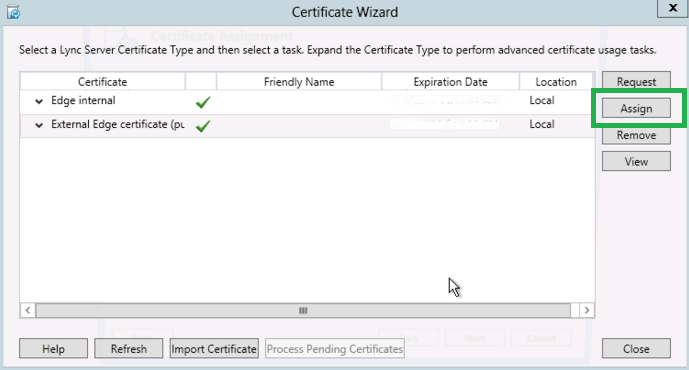 Lync 2013 Install SSL - Assign Certificate