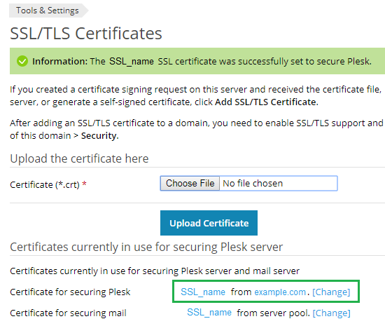 SSL certificate added to secure Plesk