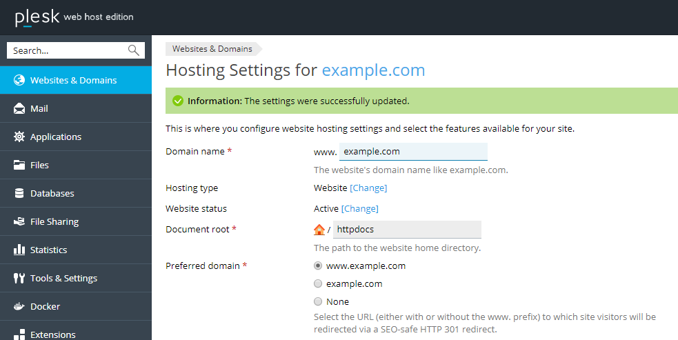 Updated Hosting Settings