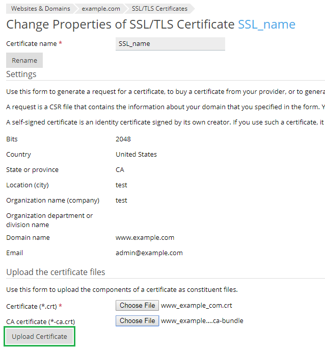 upload ssl certificate as files