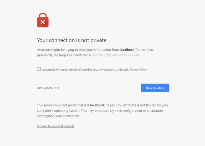 SSL Error - Your connection is not private