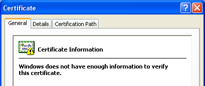 Windows does not have enough information to verify this certificate