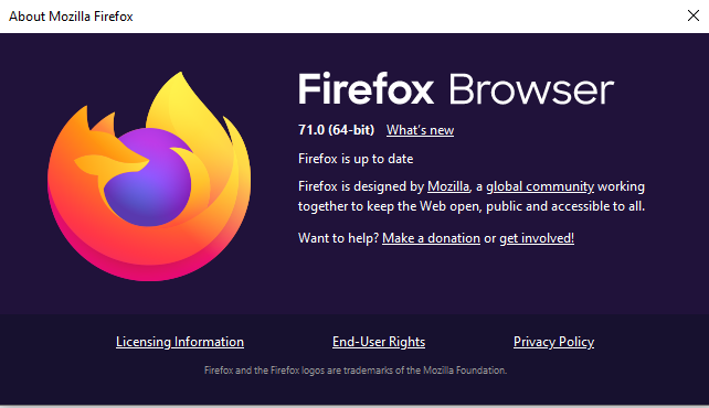 Mozilla firefox up to date