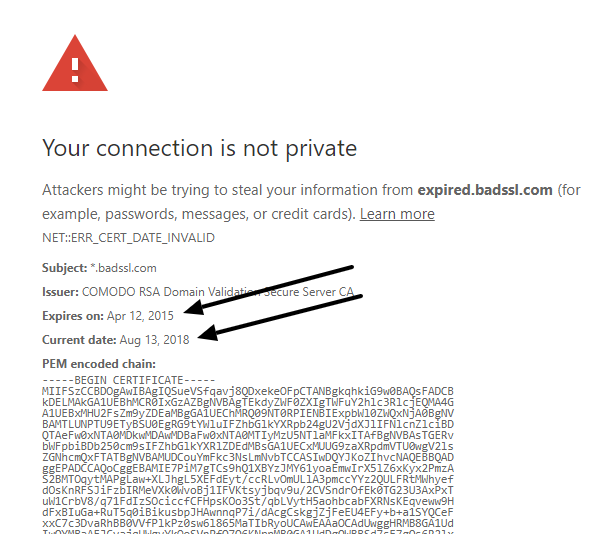 check for the expiry date of the SSL certificate
