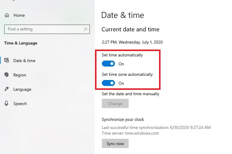 Correct the time and date in your PC