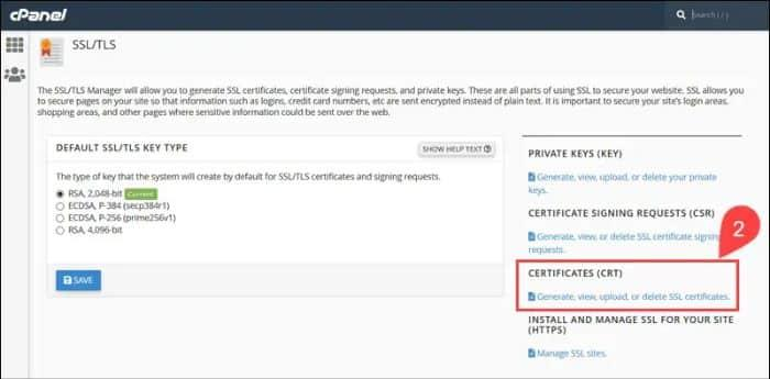 select the certificate crt option
